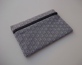 Flat clutch cotton zip front pattern asanoha gray inner black - simple - 14.5 cm x 10cm