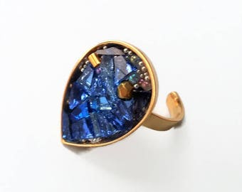Ring metal Teardrop shape mosaic gold blue