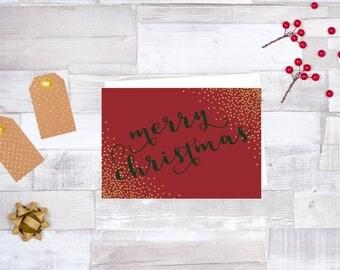 Gold Glitter Merry Christmas Digital Holiday Card - 7 x 5