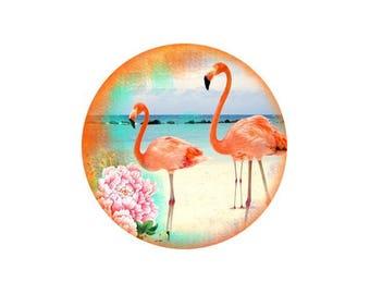 1 cabochon 30 mm glass Flamingo Pink 5-30 mm