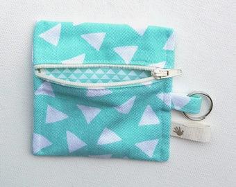 Mint green cotton zipper coin purse.