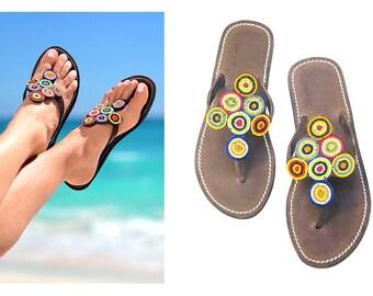 WOMEN SANDALS, Sandals for Women, African Sandals, Leather Sandals, Greek Sandals, Beaded Sandals, Cute Sandals, Kenyan Sandals,Zulu Sandals