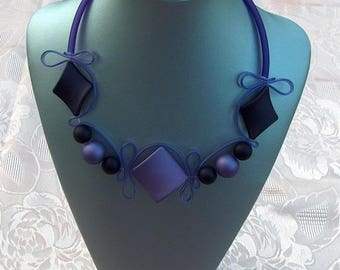 Purple and aubergine silicone necklace