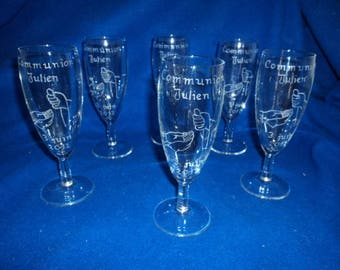 Set of 6 Champagne flutes, Communion, Profession of faith engraved and personalized