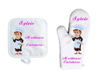 Oven glove with personalized Potholder, name choice, Cook, Baker