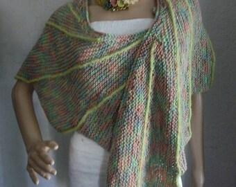 Pastel spring shades, hand knitted wingspan shawl