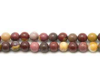 Wire 39cm 63pc env - stone beads - Moukaite Jasper balls 6 mm