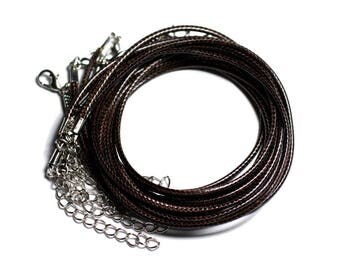 100pc - necklaces turns neck cotton waxed 2mm Brown Coffee Black