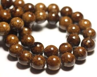 8pc - beads - Jade balls 12mm yellow ochre Brown - 8741140016132