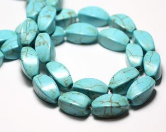 10pc - beads Turquoise synthetic reconstituted Olives Torsadees Twist 20 mm blue Turquoise - 8741140016361
