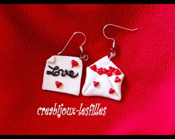 polymer clay, jewelry, loop earrings, love letter, fimo, Thunderbolt, cernit, kawaii, love, Valentines Day gift idea