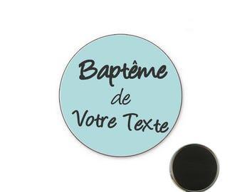 Personalized - boy baptism badge 25 mm Magnet