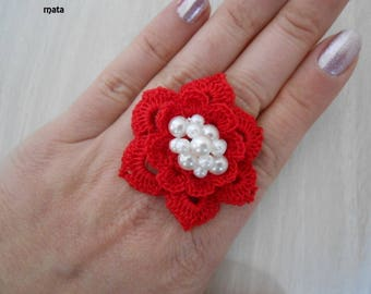 red crochet cotton ring
