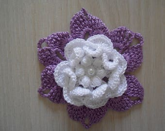 big flower violete in crochet cotton