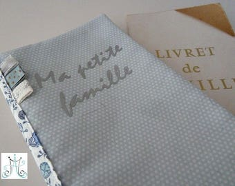 Protects family book, pastel blue mini polka dots and Liberty fabric