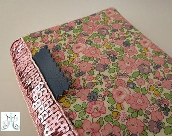 Checkbook covers Liberty Betsy Ann pink and pink glitter band