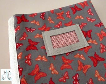 Protect health book - Butterfly pink on grey background