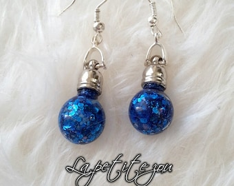 Blue glitter theme glass vial earrings