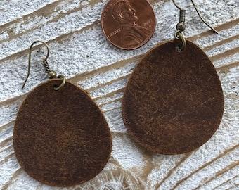 LeatherEarrings-Leather brown teardrop earrings