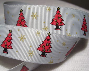 TREE of NOËL Rouge gray * 22 mm * Ribbon printed grosgrain Ribbon - sold by the yard