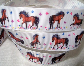 Grosgrain Ribbon printed - horses BUTTERFLIES MULTICOLOR * 25 mm * sold by the yard