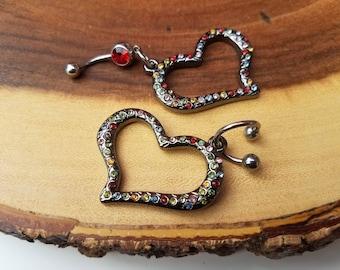 Chandelier Heart Belly Ring