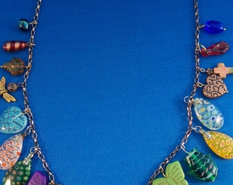Multi-color Bohemian Dangle Necklace, Butterflies  and Hearts, Coachella, Millefiori, Howlite