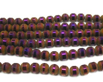30 6 mm frosted and metallic plum color glass beads