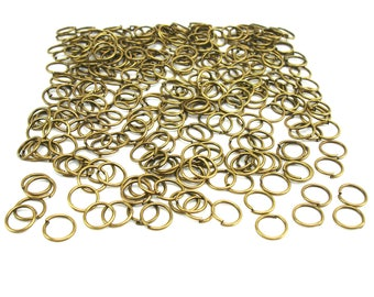 500 8 mm antique bronze metal jump rings