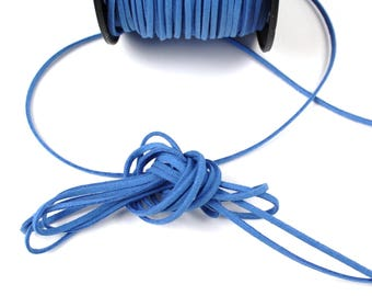 Blue 3 mm suede cord / 1.5 mm sold by the cut