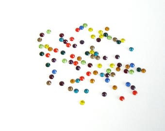 Bag of 62 multicolored rhinestone faceted glass paste 4 mm