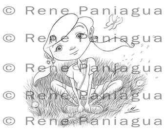 Curious Girl Coloring Page