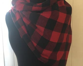 Red and Black Buffalo Scarf