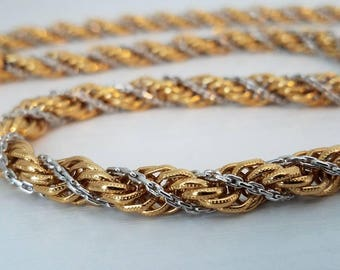 """Monet Two Tone Twisted Rope Necklace 28"""""""