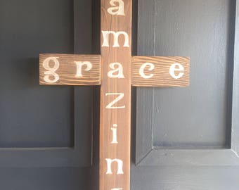Amazing Grace Cross - Reclaimed Wood Hand-Painted Art Work/Home Decor