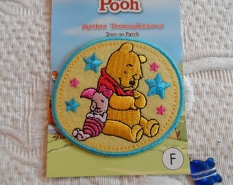 applique patch thermocollante WINNIE the pooh and piglet round pattern needle seamless with iron
