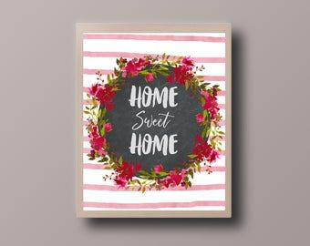 Home Sweet Home Print, Chalkboard Printable, Kitchen Print, Kitchen Printable, Printable Quote, Wall Art Print,Framed Quote, Printable Art