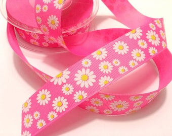 Pink Ribbon pink white flowers largeur25 mm bright Daisy bag customization