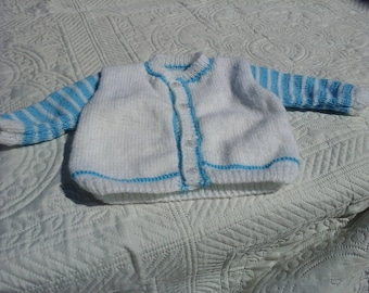 3 MONTH CARDIGAN HAND KNITTED WHITE AND BLUE