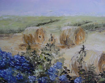 painting oil on canvas made the haystacks knife