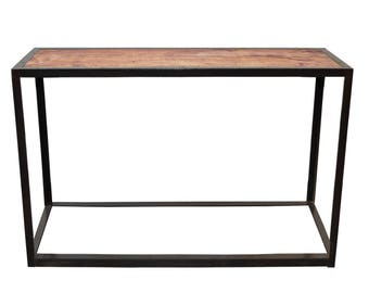 Console industrial style vintage chestnut wood and steel