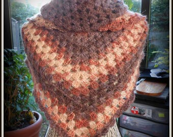 scarf / shawl crocheted angora and acrylic color-multicolored