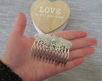 """Hair comb """"sparkles"""". ~ * Silver, ivory, lace, thin, wedding, bride, Bridal hair accessories"""
