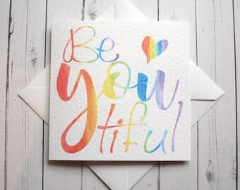 LGBT card Gay Lesbian card Rainbow card Handmade card PRIDE Gay Pride Beautful watercolour card