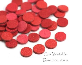 6 round genuine leather - Diam. 8 mm - goat leather - red vermilion color set