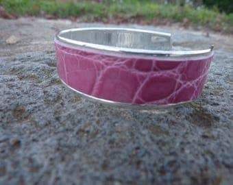 pink crocodile leather and silver plated Cuff Bracelet