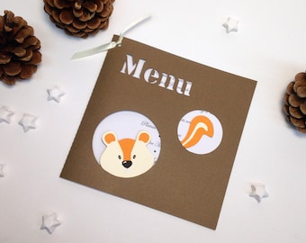 Nice menu on the theme of the forest animals! Squirrel - customizable menu - color taupe and white