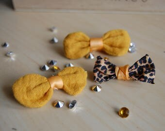 Set of 3 hair bow hair clip in cotton double gauze honey and leopard cotton