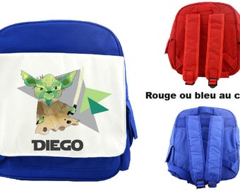 """BACKPACK CHILD """"YODA"""" PERSONALIZED WITH CHILD'S NAME"""