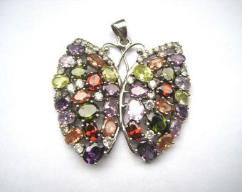 Silver Pendant Butterfly full of beautiful gems